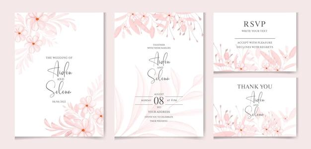 Set di modello di carta di invito matrimonio acquerello con decorazione di fiori e foglie di pesco morbido