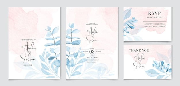 Set di modello di carta di invito matrimonio acquerello con schizzi e foglie