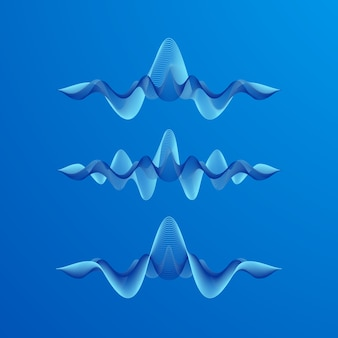 Set di forme d'onda su sfondo blu, illustrazione