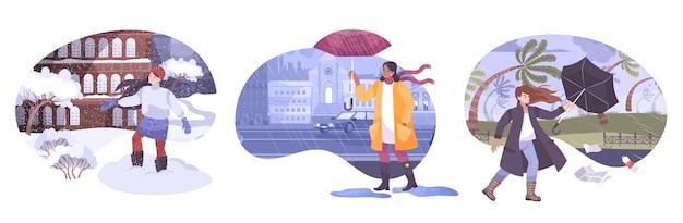 Set di composizioni meteorologiche con personaggi umani che indossano abiti stagionali di fronte a paesaggi all'aperto piatti