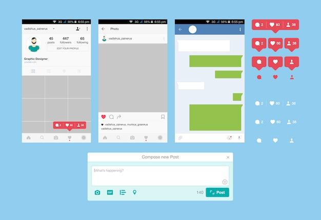 Impostare le applicazioni web e l'icona per i social network. icone di notifica