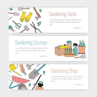Set di modelli di banner web con attrezzi da giardinaggio o attrezzature e posto per il testo su sfondo bianco