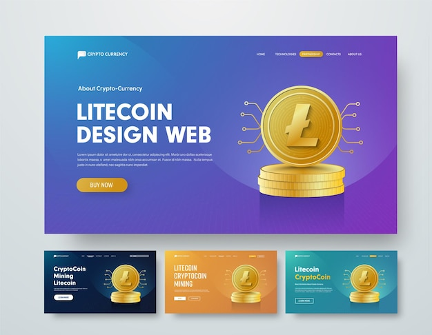 Set di modelli di banner web con pile d'oro di monete laitcoin e elementi di chip.