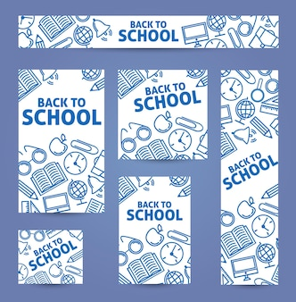 Imposta web di banner. di nuovo a scuola. icone blu su sfondo bianco.