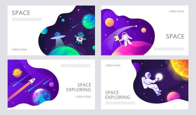 Set di modelli di banner web lo spazio di presentazione esplora l'illustrazione del fumetto dei bambini di ufo