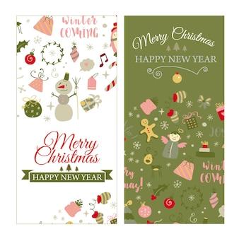 Set di banner web con elementi di design natalizio in vettore di cartoline di natale in stile scarabocchio