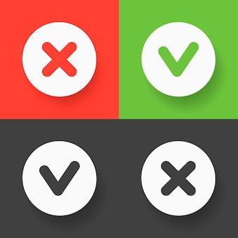 Set di pulsanti web: segno di spunta verde, croce rossa e segni varianti grigie