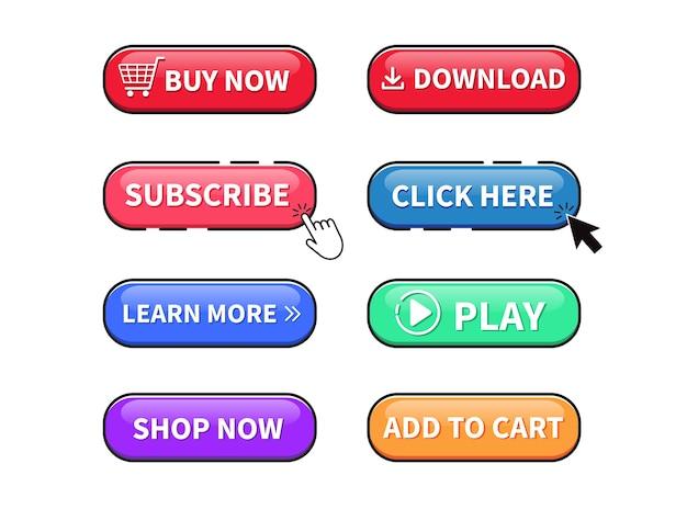 Set di pulsanti web. pulsante di riproduzione. acquista ora, clicca qui, pulsante download.