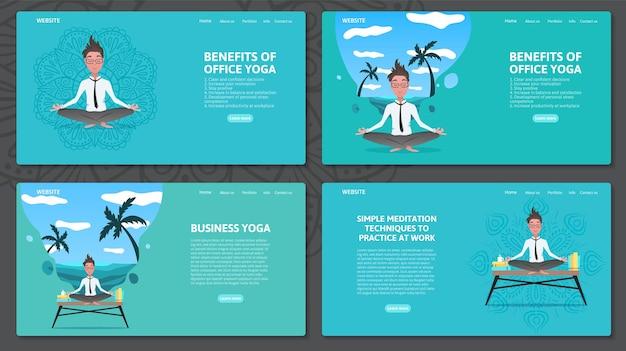 Set di modelli di progettazione di pagine web con uomo d'affari rilassante nella posizione del loto