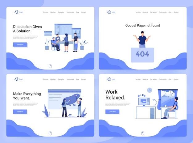Set di modelli di pagine web di app aziendali, ricerca, discussione e sviluppo, 404 pagine
