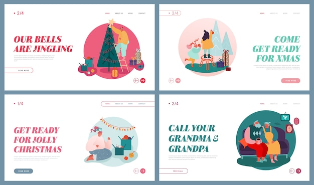 Set di pagine di destinazione del sito web della stagione festiva invernale, celebrazione di natale. celebrando le vacanze di natale. personaggi di persone decorano l'albero di natale, dando regali banner pagina web.