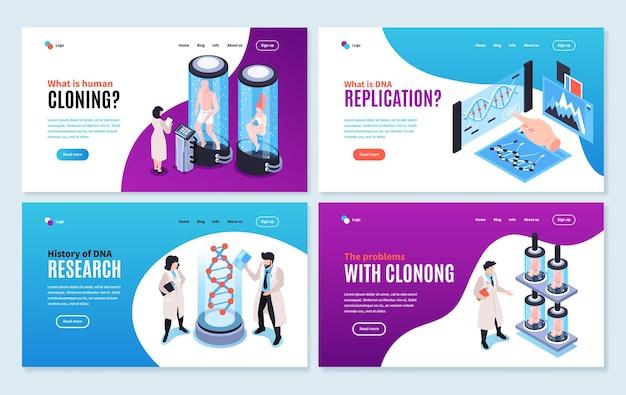 Set di layout del sito web sull'illustrazione della clonazione umana che mostra la storia e i problemi associati agli esperimenti sul genoma umano