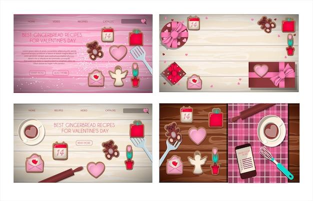 Set di pagine del sito web con un regalo per l'illustrazione piatta di san valentino su uno sfondo di legno