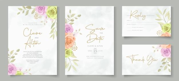 Set di design della carta di nozze con bellissime rose