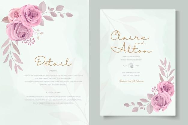Set di design della carta di nozze con rose rosa