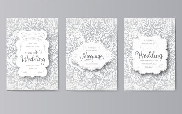 Set di carte di nozze flyer pagine ornamento concetto. arte vintage tradizionale, motivi ottomani, elementi.