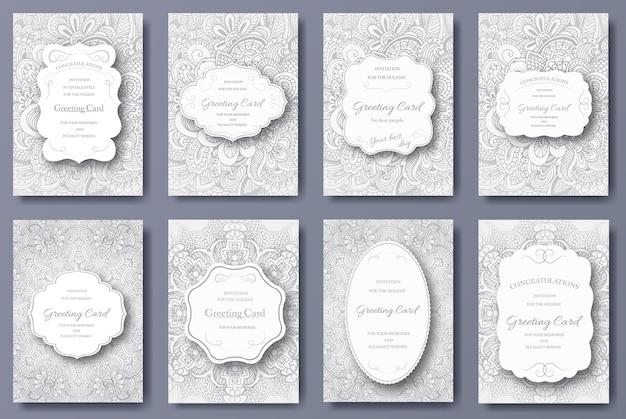 Insieme del concetto dell'illustrazione dell'ornamento delle pagine dell'aletta di filatoio della carta di nozze