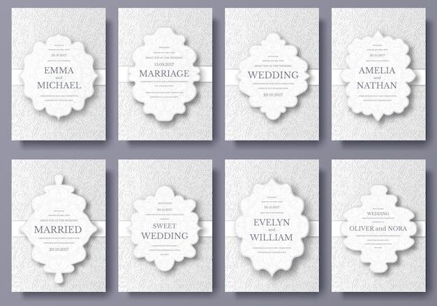 Insieme del concetto dell'illustrazione dell'ornamento delle pagine dell'aletta di filatoio della carta di nozze.