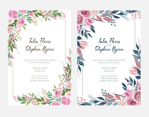 Set di modelli di cornici floreali di nozze con fiori e foglie di rosa. inviti di nozze