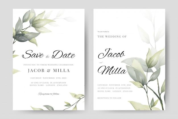 L'insieme della pianta della carta dell'invito di nozze lascia il modello del ramo dell'acquerello.