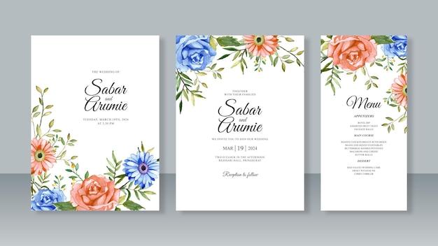 Set di modello di carta di invito a nozze con fiori di pittura ad acquerello