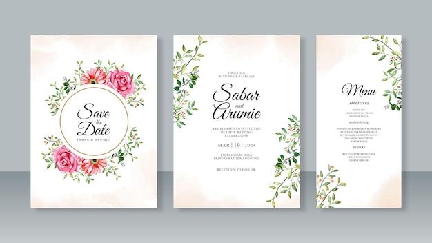 Set di modelli di biglietti d'invito per matrimonio con pittura ad acquerello di fiori e foglie