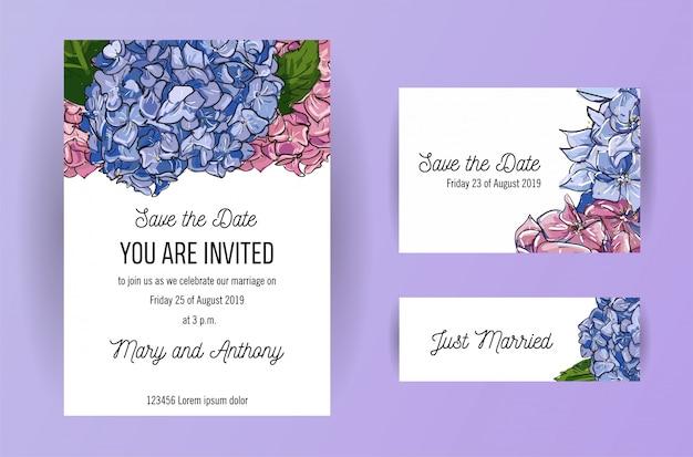 Set di carta di invito di nozze con fiori blu e rosa ortensia.