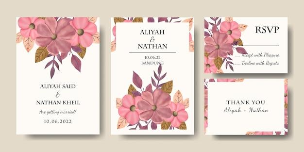 Set di biglietti d'invito per matrimonio con fiori rosa disegnati a mano con foglie e bouquet illustrazione vettoriale modificabile