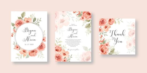 Impostare la carta di invito a nozze con il fiore dell'acquerello rosa