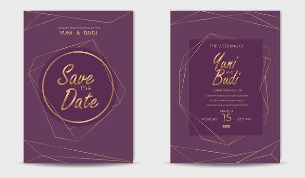 Set di invito a nozze lusso dorato elegante moderno