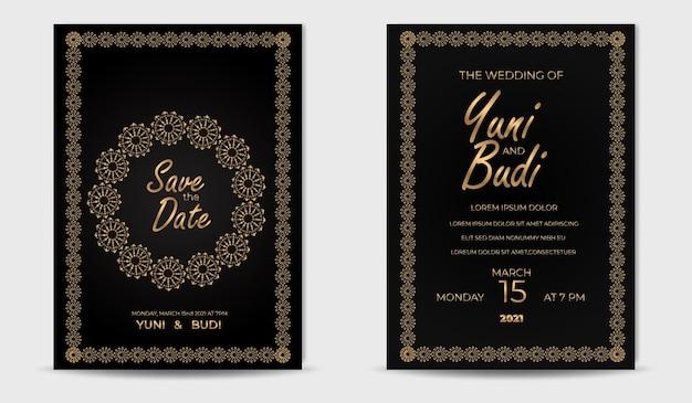 Set di invito a nozze lusso dorato elegante moderno Vettore Premium
