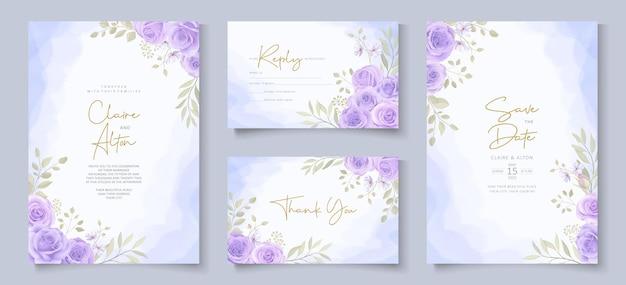Set di modello di invito a nozze con bellissime rose in fiore viola design