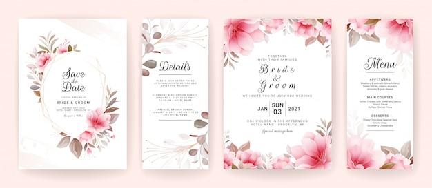Set di modello di invito di nozze con cornice floreale marrone e bordo.