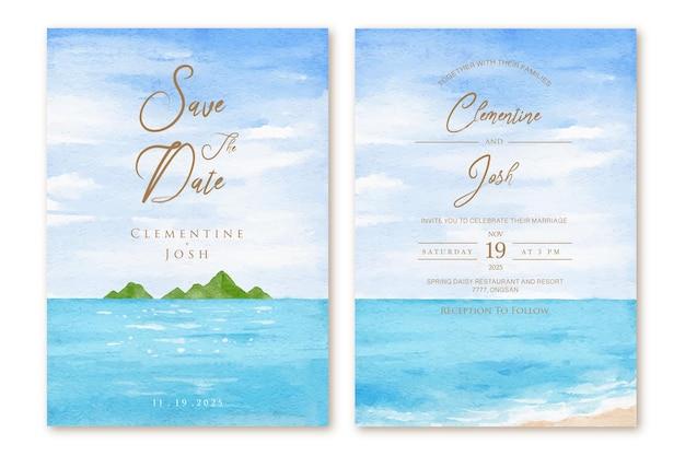 Insieme del modello dell'invito di nozze con il fondo dell'acquerello disegnato a mano della spiaggia di estate
