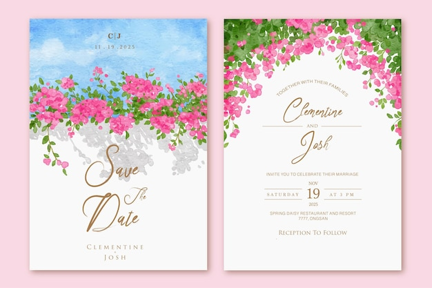 Set di invito a nozze con sfondo di fiori di bouganville rosa primavera acquerello disegnato a mano