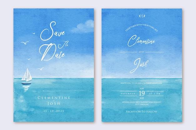 Set di invito a nozze con sfondo di barca di mare estate acquerello disegnato a mano