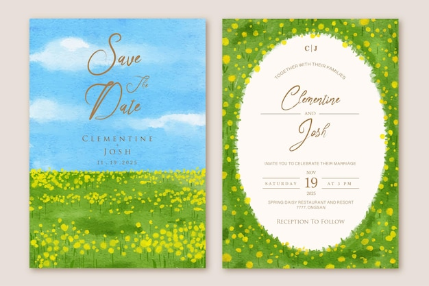 Set di invito a nozze con paesaggio di sfondo di campi di fiori gialli di primavera dell'acquerello