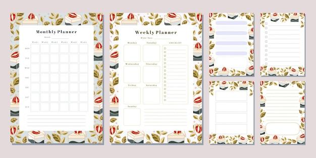 Set di modelli di note del pianificatore mensile settimanale con elementi floreali e fragola di torta disegnati a mano