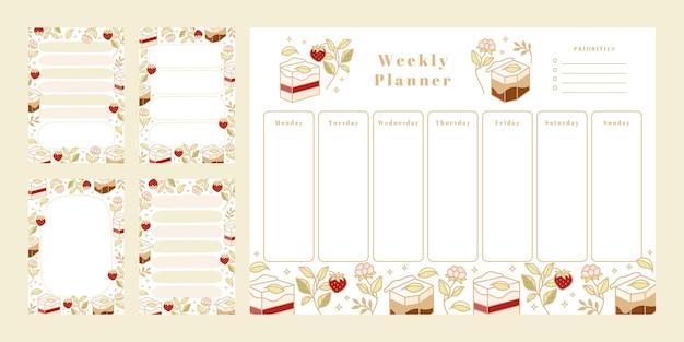 Set di pianificatore settimanale, elenco delle cose da fare quotidiane, modelli di blocco note, agenda scolastica con torta disegnata a mano, elementi floreali e fragola