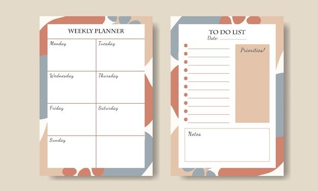 Set di agenda settimanale e modello di elenco delle cose da fare con sfondo astratto disegnato a mano