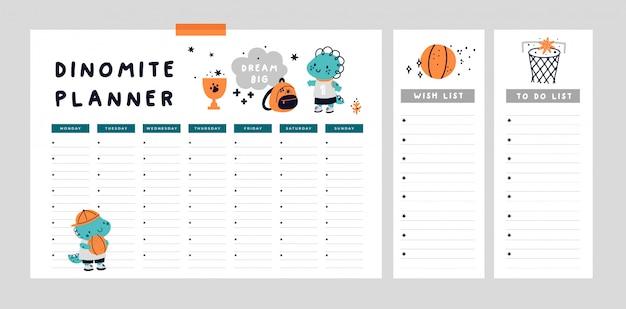 Set di agenda settimanale, per fare la lista con simpatico cucciolo di dinosauro. di nuovo a scuola