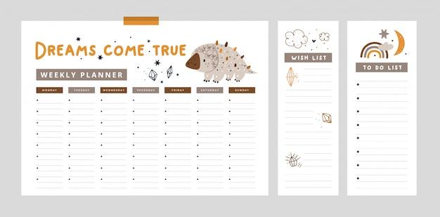 Set di agenda settimanale, lista delle cose da fare con simpatico cucciolo di dinosauro, arcobaleno