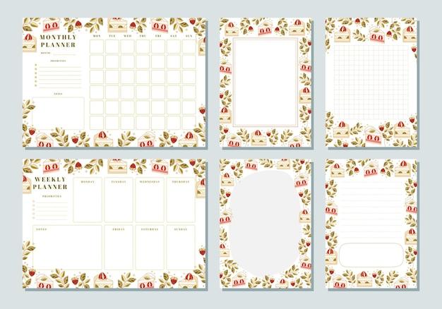 Set di pianificatore settimanale, pianificatore mensile, nota, promemoria, modelli di pianificazione scolastica con elementi di torta, floreali e fragola disegnati a mano