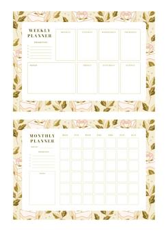 Set di pianificatore settimanale, pianificatore mensile, modelli di pianificazione scolastica con torta disegnata a mano, elementi floreali