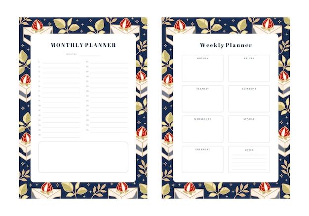 Set di pianificatore settimanale, pianificatore mensile, modelli di pianificazione scolastica con elementi disegnati a mano di torta, floreale e fragola
