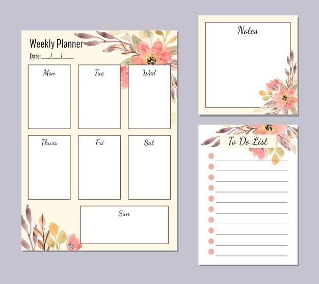Set di agenda settimanale con sfondo floreale arancione acquerello