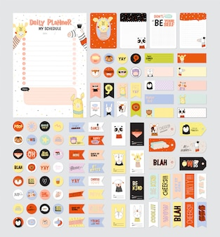 Set di pianificatori settimanali e liste per fare con simpatici animali illustrazioni e lettere alla moda. modello