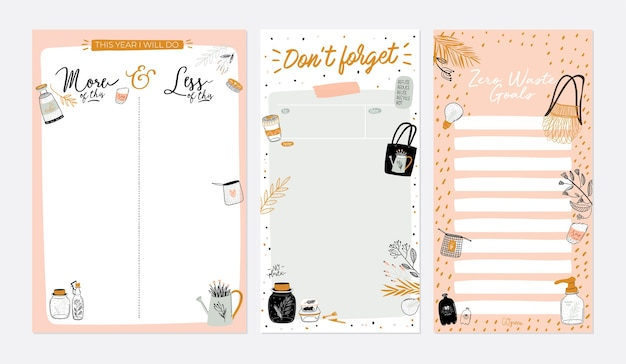 Set di agende settimanali e liste di cose da fare con illustrazioni a rifiuti zero e scritte alla moda.