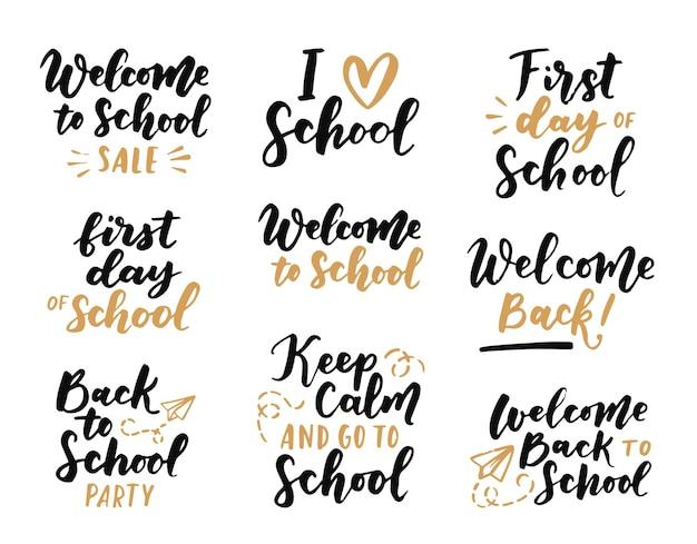 Set di etichette di bentornato a scuola. sfondo della scuola. torna a etichetta di vendita della scuola. illustrazione vettoriale. distintivi di lettere disegnate a mano. set di emblemi tipografici