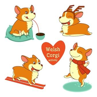 Serie di illustrazioni di personaggi welsh corgi in diverse attività su sfondo bianco
